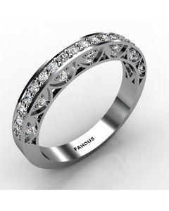 14k White Gold Wedding Band 0.472cts SKU: 0300827-14kw